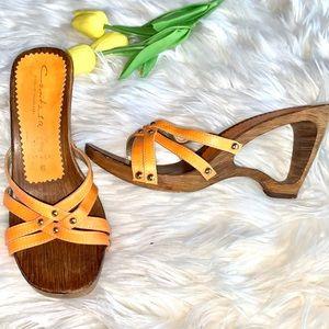 Contesa Italian Shoemakers Orange Wooden Wedges